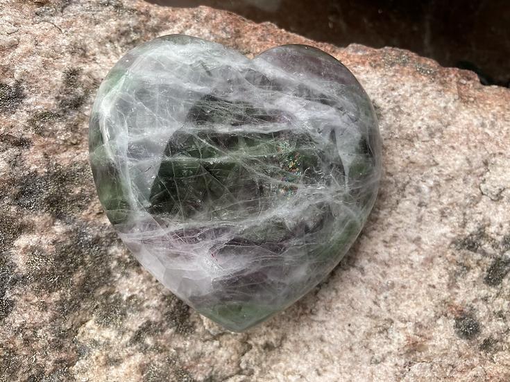 Green & Purple Fluorite Heart