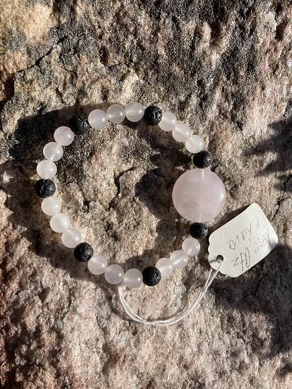 Rose Quartz & Lava Bracelet