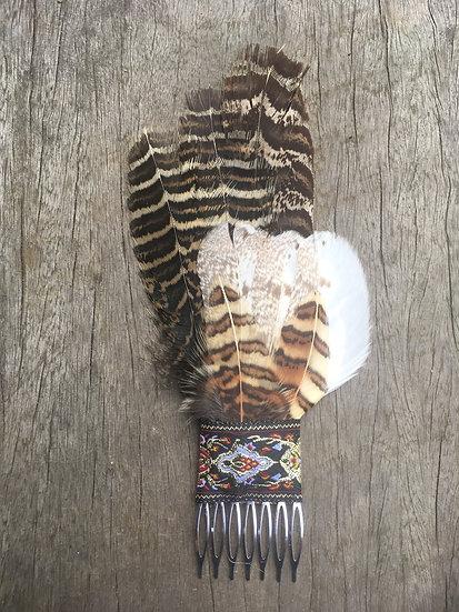Native Pheasant & Barn Owl Hair Comb