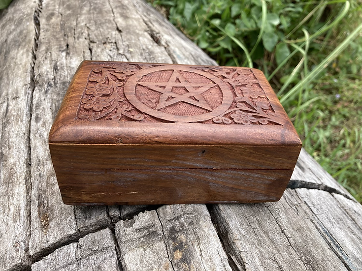 Pentagon Carved Wooden Box