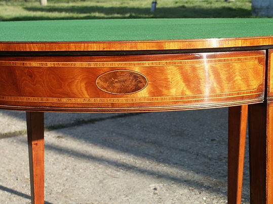 Satinwood card table restored and repolished
