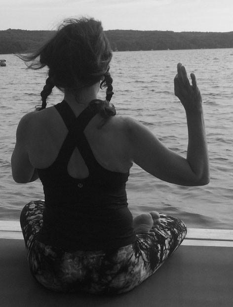 Viki Distin in lotus pose and chin mudra | Spiritually Speaking | by Sandra Mitchell, Life Coach and Writer