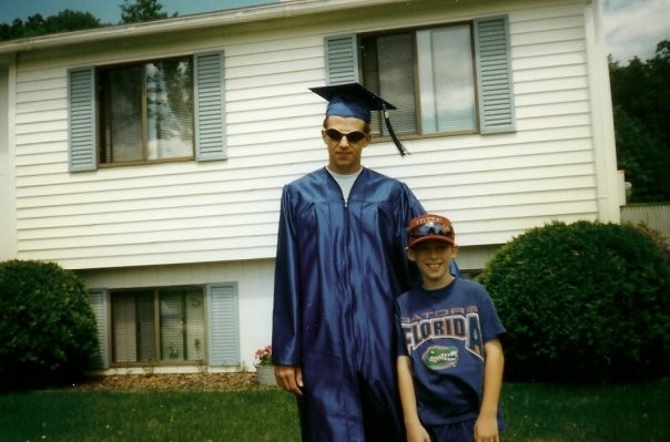 Here I am after graduation with my cousin, now 28, who is running for City Council in Bridgeport, CT