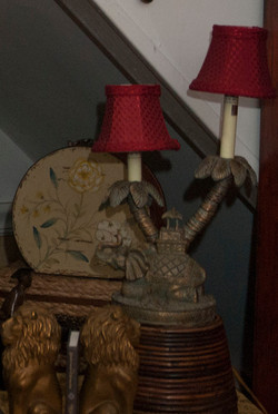 red lampshades