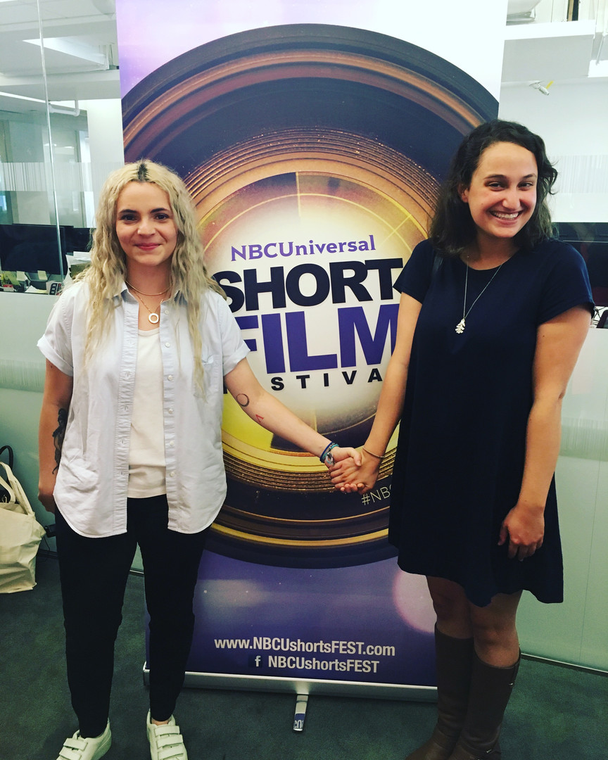 Alejandra and Elizabeth at an event for the NBCUniversal Short Film Festival