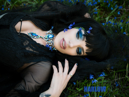 """Haunting Moon Goddess with the """"blues""""."""