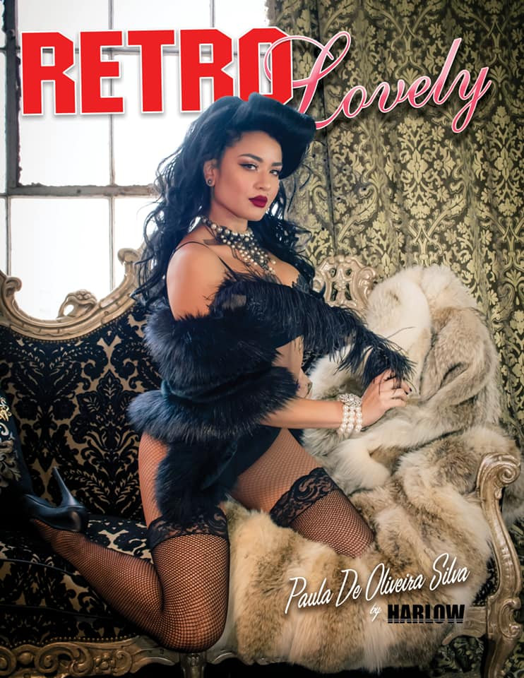 Harlow Pinup Retro Lovely Magazine Cover with Paula Silva Pinup Hair and Makeup Chicago Il Best