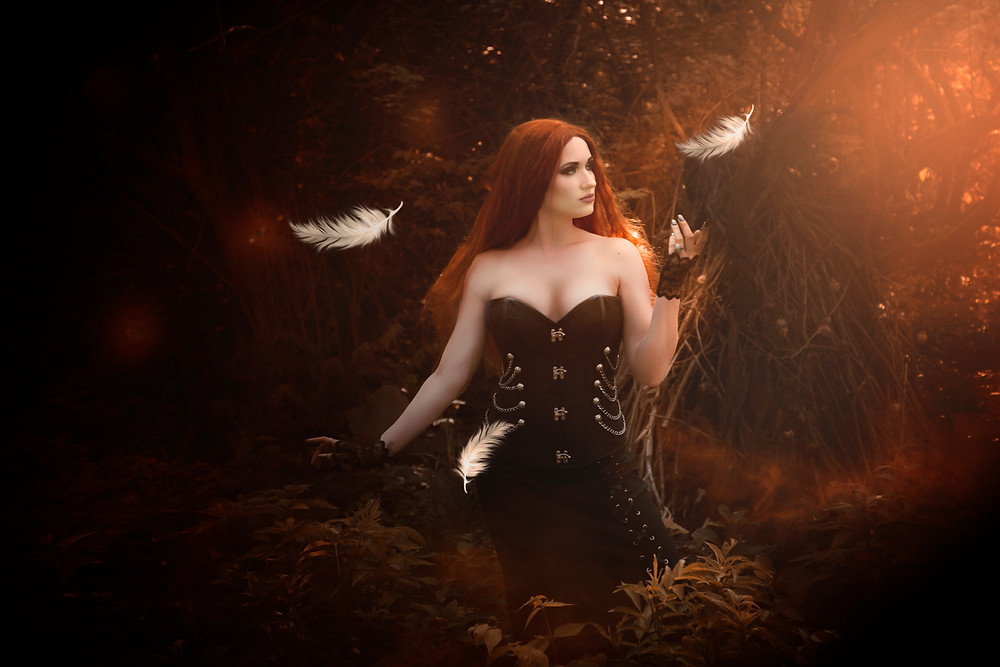 magic, wicca, fine art fantasy photo, gothic beauty, dark beauty, red hair, goth,corset,fairytale