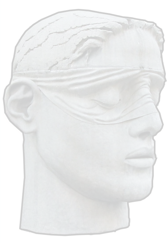 Image of Justice, blindfolded. She is purposely designed to have as neutral a face as possible. The image is a backdrop for the text.