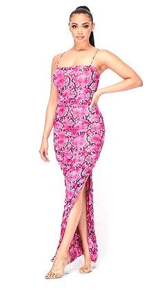 Libra Fushia Side Slit Maxi Dress