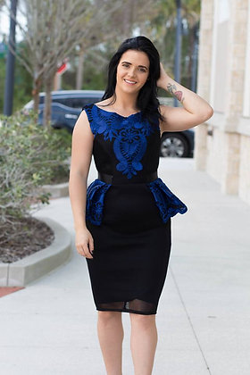 Peplum Mesh Blue Midi Dress By City Goddess UK