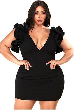 Buxom Statement Black Mini Dress