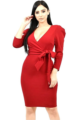 Heather Solid Surplice Midi Dress