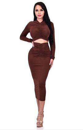 Mica Brown 2Piece Skirt and Crop Top