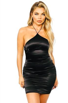 Sassy Halter Neck Satin Mini Dress