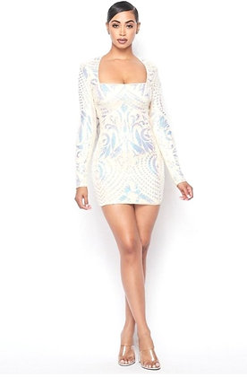 Ella Cream Opal Sexy Patterned Sequins Square Neck Dress