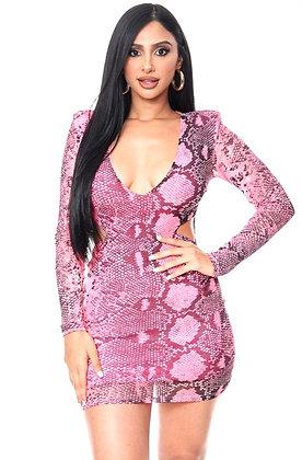 Oh Kelly Pink Snake Print Dress
