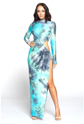 Turquoise Slit Maxi Tie-Dye Dress