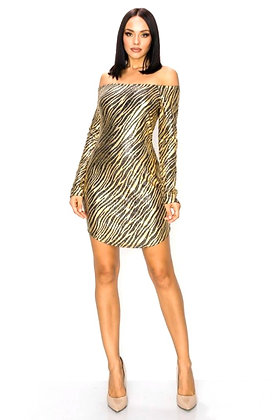 Phoenix Zebra Metallic Mini Dress