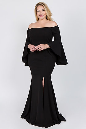 Iza Black Evening Crepe Scuba Knit Off Shoulder Bell Sleeve Dress