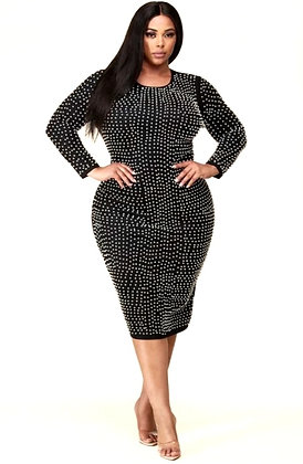 Pearla Long Sleeve Bodycon Black Dress