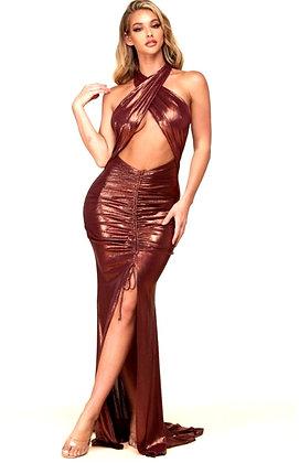 Celina Metallica Copper Maxi Dress