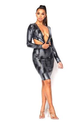 GunShot Low Cut Silver Black Dress