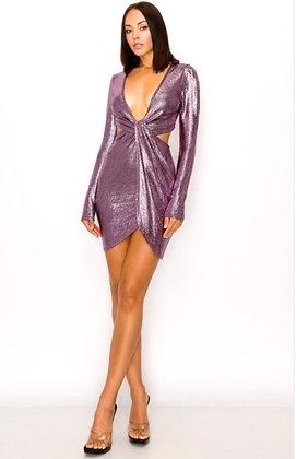 Josie Solid Metallic Mini Dress