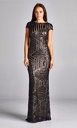 Black and Nude Sequins Evening Gown