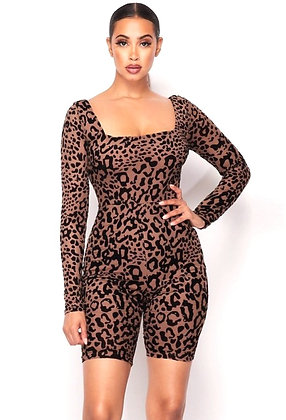 Erica Leopard Flocking Print Bodycon Romper