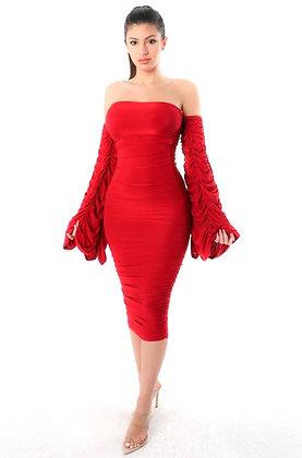 Sebban Off Shoulder BodyCon Midi Dress