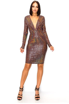 Lori Multi-Color Long Sleeve Body Con Mini Dress
