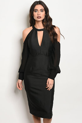 Sienna Cold Shoulder Black Midi Dress