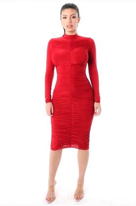 Dana Red Long Sleeve Dress