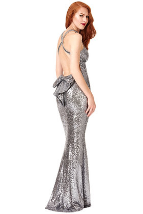 City goddess Silver Bow evening dress