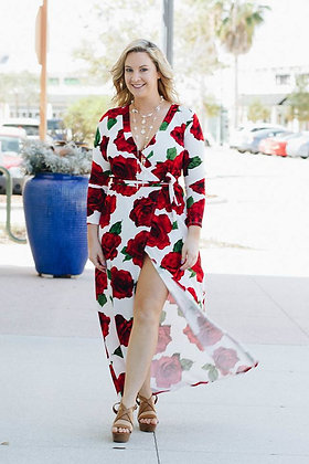Crowns Red Rose Maxi Slit Dress