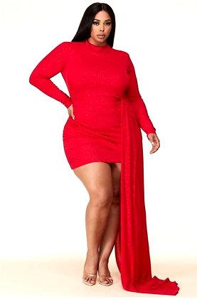 KiKi Red Glittery Mesh Long Sleeve
