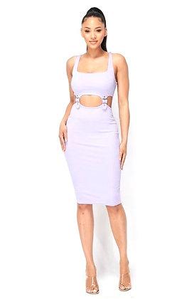 Dani Lavender Cut Out Buckle Detail Bodycon Dress