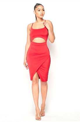 Nivea Red Ruched Cut Out Dress