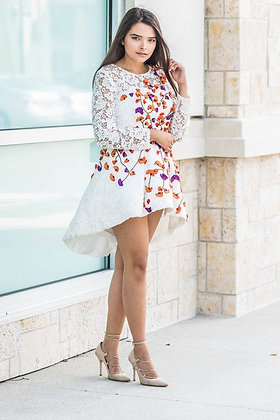 Floral Beaded White Lace Dress