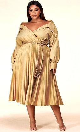 Fallon Sandy Beige Midi Dress
