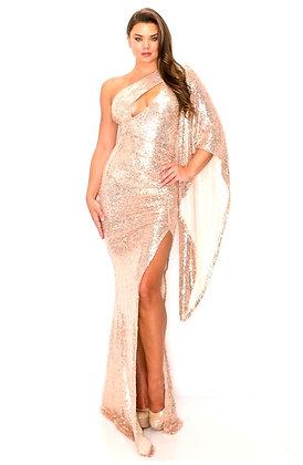 Limia One Shoulder Maxi Sequins Dress