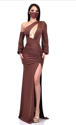 Gallo Brown Maxi Dress With Mask