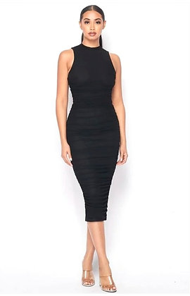 Rachel Mock Neck Sleeveless Midi Bodycon Dress