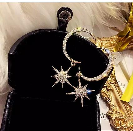 Moon Diamond Star Pendant Earring