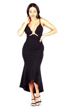 Celina Black Spaghetti Strap Deep V Front Ring Mermaid Dress