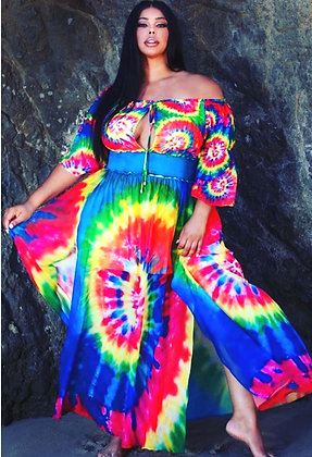 Ocean Spring Rainbow Tie-Dye Dress