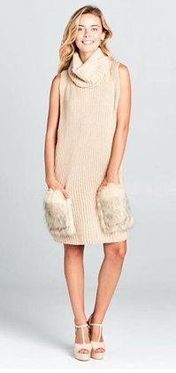 Heather Solid Knit Fur Pocket Dress