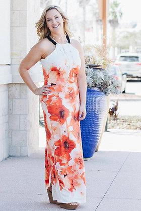 Lori Orange Floral Maxi Dress