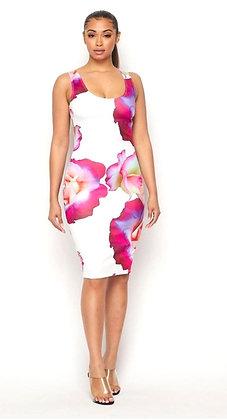 March Floral Print Midi Spring Summer dress